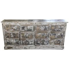 French, circa 1900 12-Drawer Painted Kitchen Buffet Storage