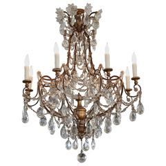 19th Century Italian Genovese Chandelier with Crystal Gold Gilt Center