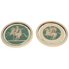 Pair of Vintage Greek Soldiers on Horses in Round Frames