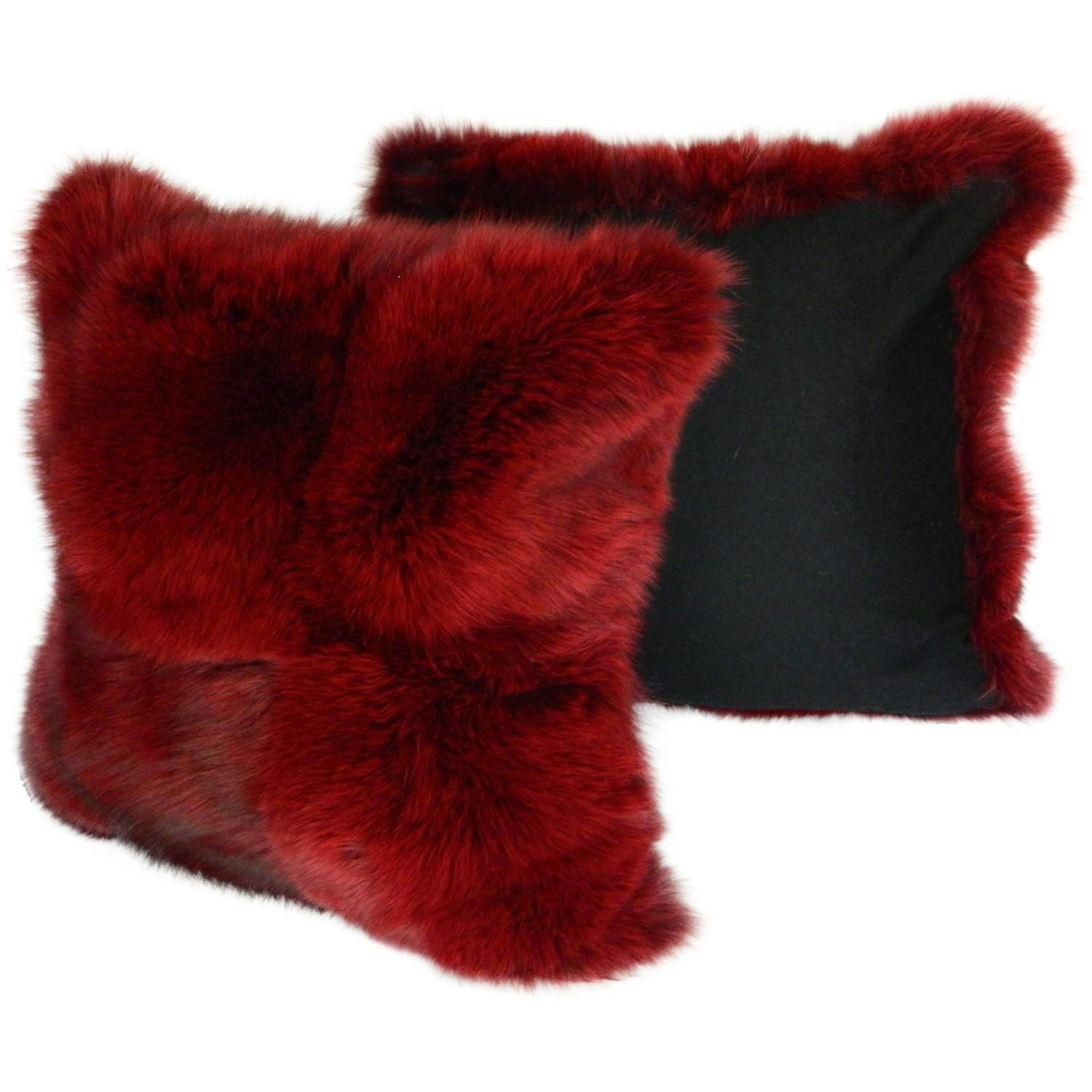 Pair Of Beautiful Burgundy Fox Pillow For Sale At 1stdibs