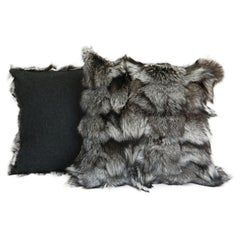 Gray Fox Fur Pillow With Cashmere