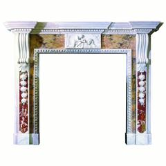 18th Century Reproduction Mantel Carved in Statuary Marble with Inlay Pattern 57