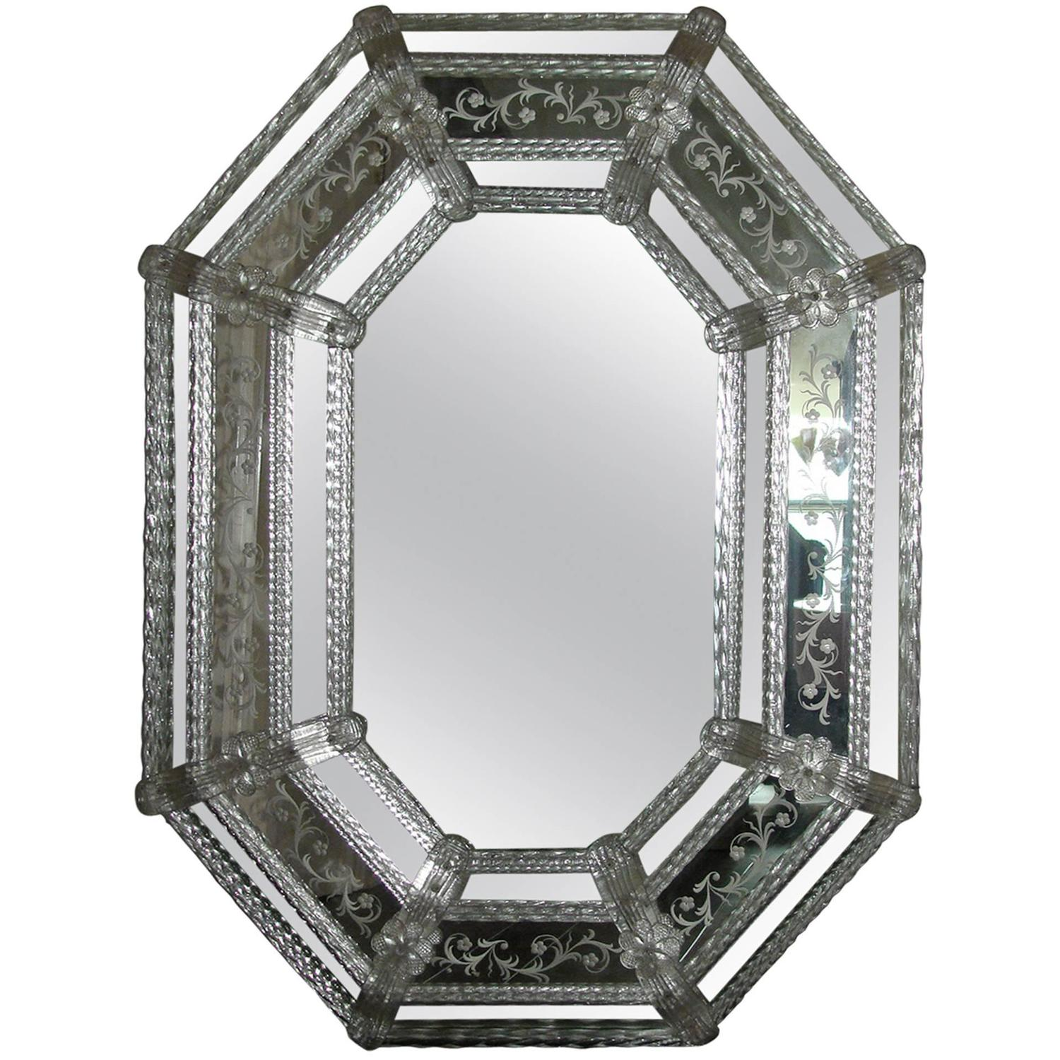 Venetian Murano Glass Floral Etched Wall Hanging Mirror at 1stdibs