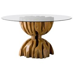 Root Table in Aquariquara Wood with Glass Top by Jose Zanine, Brazil, 1970s