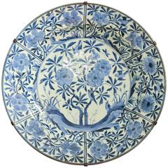 Large Japanese Arita Blue and White Charger, Late 17th Century