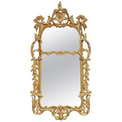 Large Mid-18th Century George III Rococo Style Carved Giltwood Mirror