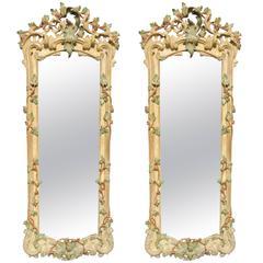 18th Century Pair of Italian Rococo White Mirrors  circa 1740