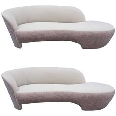Pair of Vladimir Kagan Style Weiman Preview Kidney Shaped Sofas
