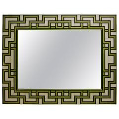 1970s Italian White and Black Murano Glass Mirror with Gold Geometric Decor