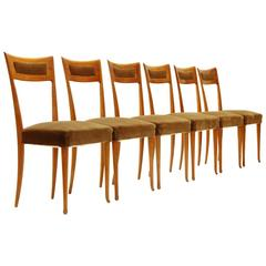 Italian Wooden Chairs, 1950s, Set of Six