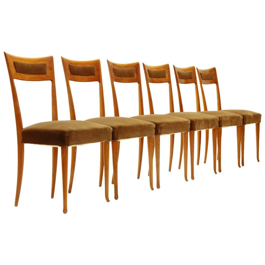 Italian Wooden Chairs 1950s Set Of Six At 1stdibs