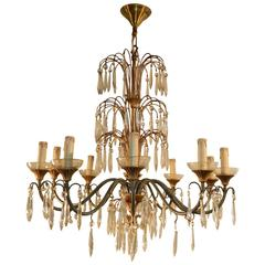 1950 Lacquered Metal, Gilt Metal and Crystal Chandelier