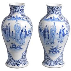 Pair of 19th Century Qing Period Blue and White Porcelain Vases