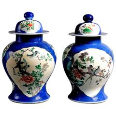 Pair of 19th Century Famille Verte Vases and Covers
