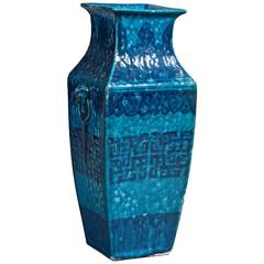 19th Century Turquoise Ground Square Vase