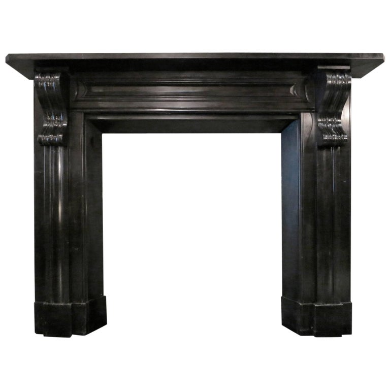 Antique Early 19th Century Irish Black Marble Fireplace Mantel For Sale