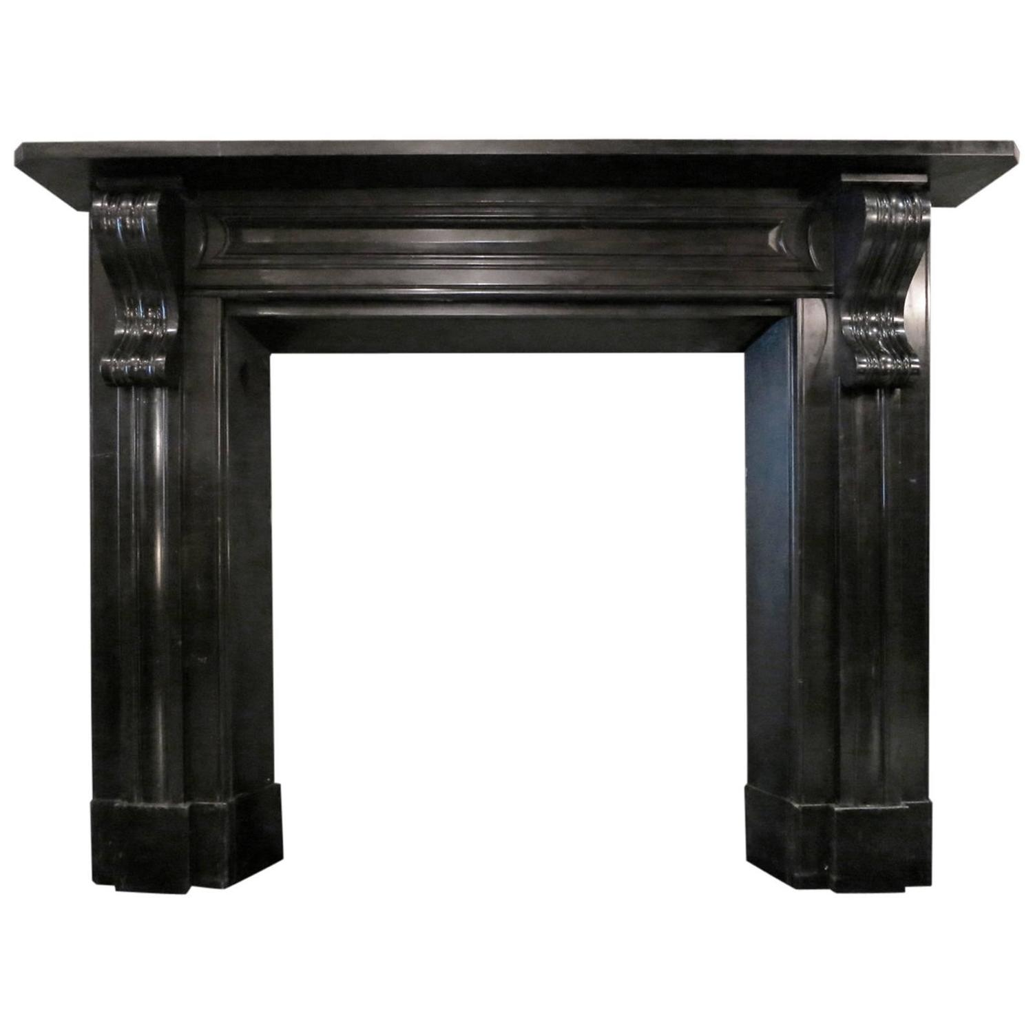 antique early 19th century irish black marble fireplace