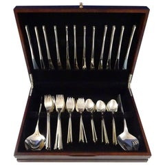 Vision International Sterling Silver Flatware Set 12 Service, Mid-Century Modern