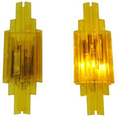 Set of Two Danish Design Wall Lamps in Yellow Acryllic