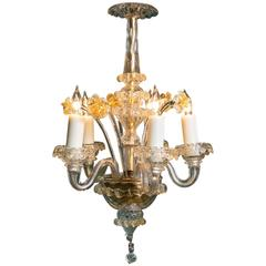Petite Italian Aventurine Murano Glass Chandelier with Five Arms, circa 1940
