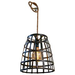 Custom Iron and Rope Rustic, Industrial Lantern