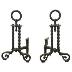 Bradley and Hubbard Arts and Crafts Style Andirons