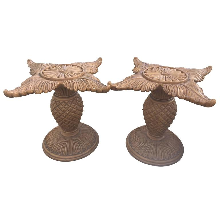 Pair of wood carved pineapple dining table or desk bases