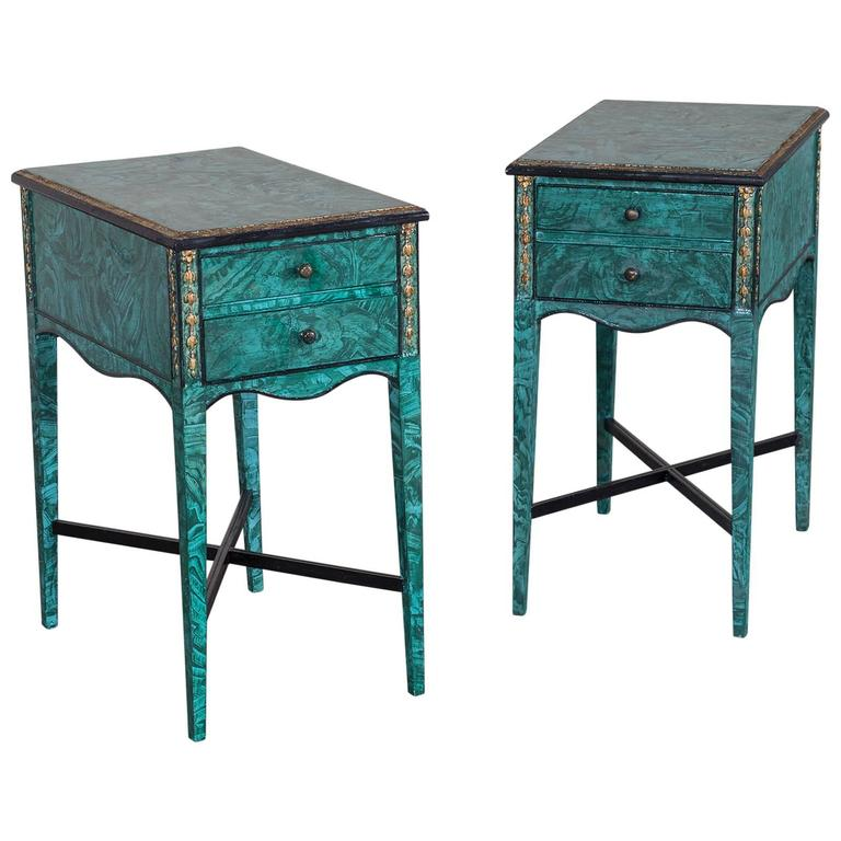 Pair of Vintage English Painted Side Tables, Gilt Accents, circa 1940