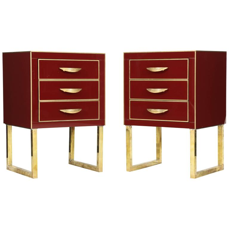 Rare Pair of Red Opaline Glass Nightstands with Brass Inlay, Italy For Sale
