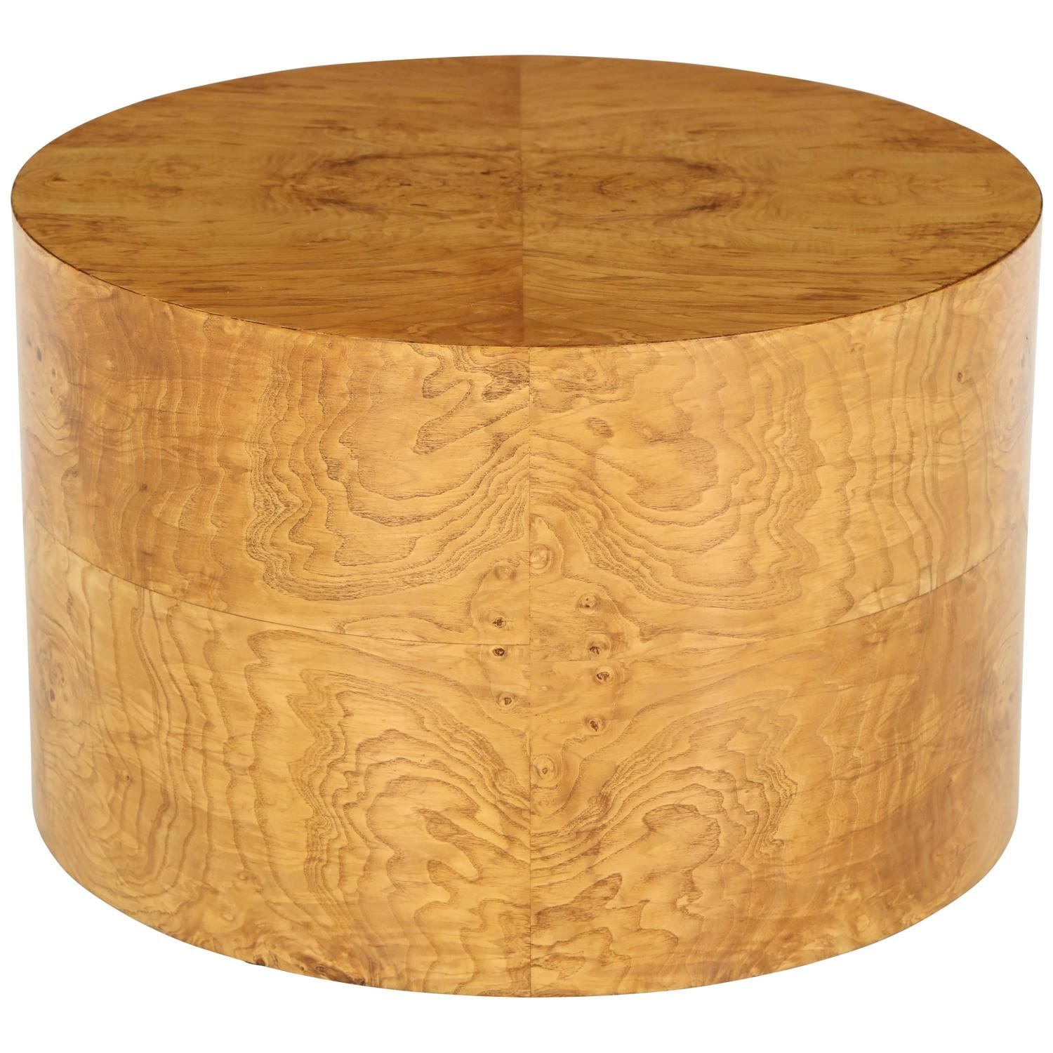1970s Milo Baughman Burl Wood Drum Shaped Cocktail Table For Sale At 1stdibs