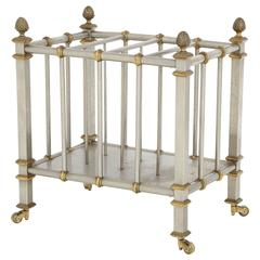 Neoclassical 1960s Steel and Brass Magazine Trolley after Maison Jansen