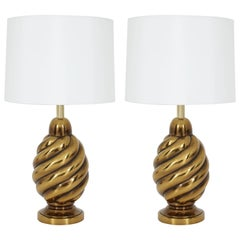 Pair of Aged Brass Lamps by Westwood Lighting