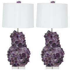 Pair of Faceted Amethyst Quartz Crystal Lamps