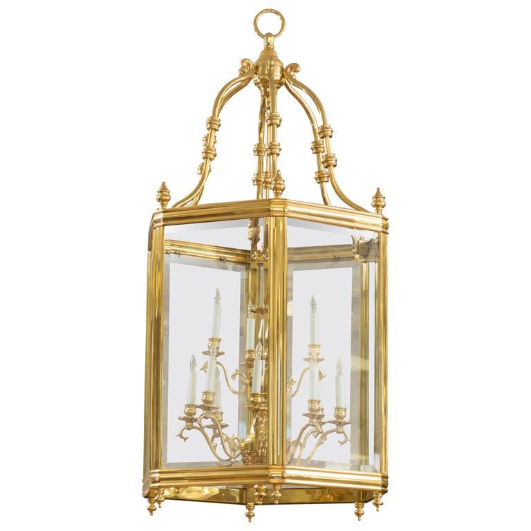 Monumental Brass And Glass Twelve Light Foyer Pendant At