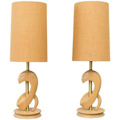 Pair of Sculptural Oak Table Lamps Attributed to Yasha Heifetz