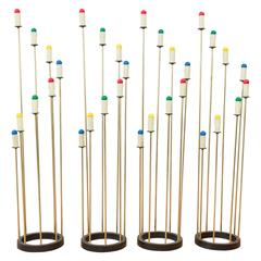 Four-Piece Set of Brass-Stemmed Candle-Style Floor Lamps by Robert Bulmore