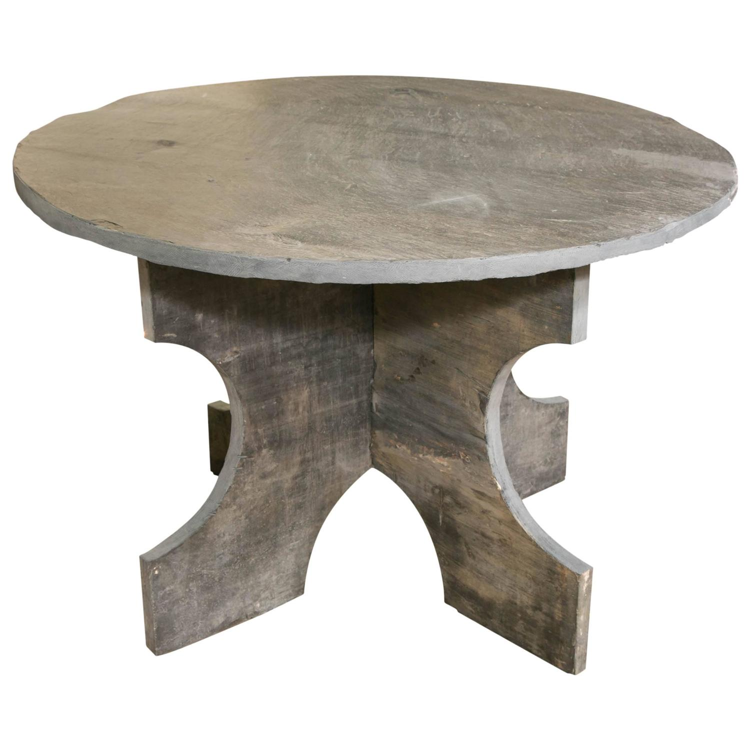 Custom Made Solid Blue Slate Round Dining Table At 1stdibs