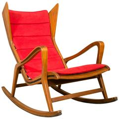 Rocking Chair in Walnut Designed by Gio Ponti for Cassina, circa 1955