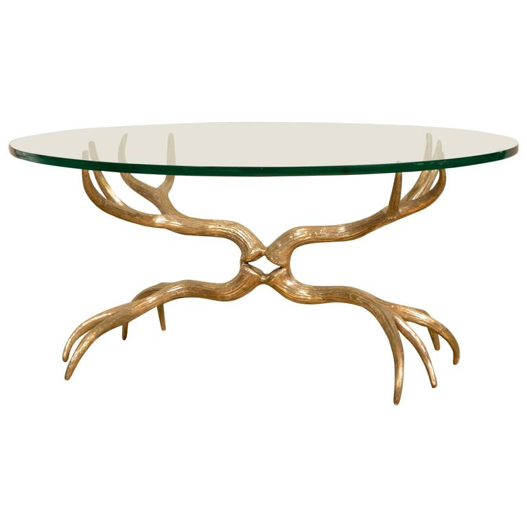 Antlers Coffee Table In Gilt Bronze In The Style Of Arthur Court Circa 1970 At 1stdibs
