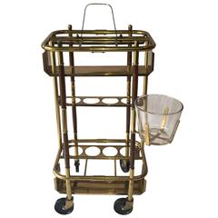 Mid-Century Italian Bar Cart, with Ice Bucket, Attributed to Cesare Lacca