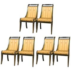 Set of Six Ebony John Stuart Sable Leg Dining Chairs in Hollywood Regency Look