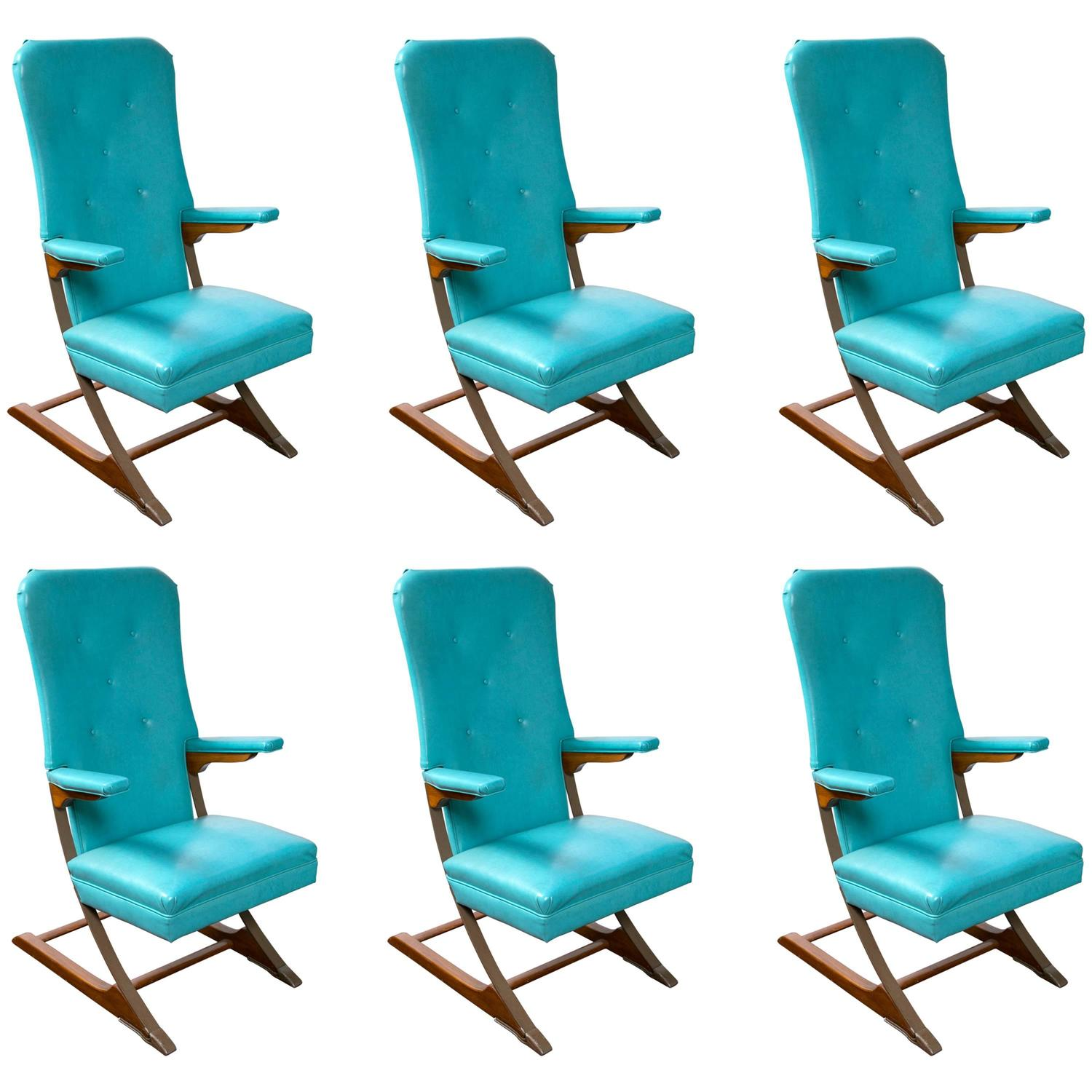 Set of Six Blue Mid Century McKay Spring Rocker Rocking Chair at
