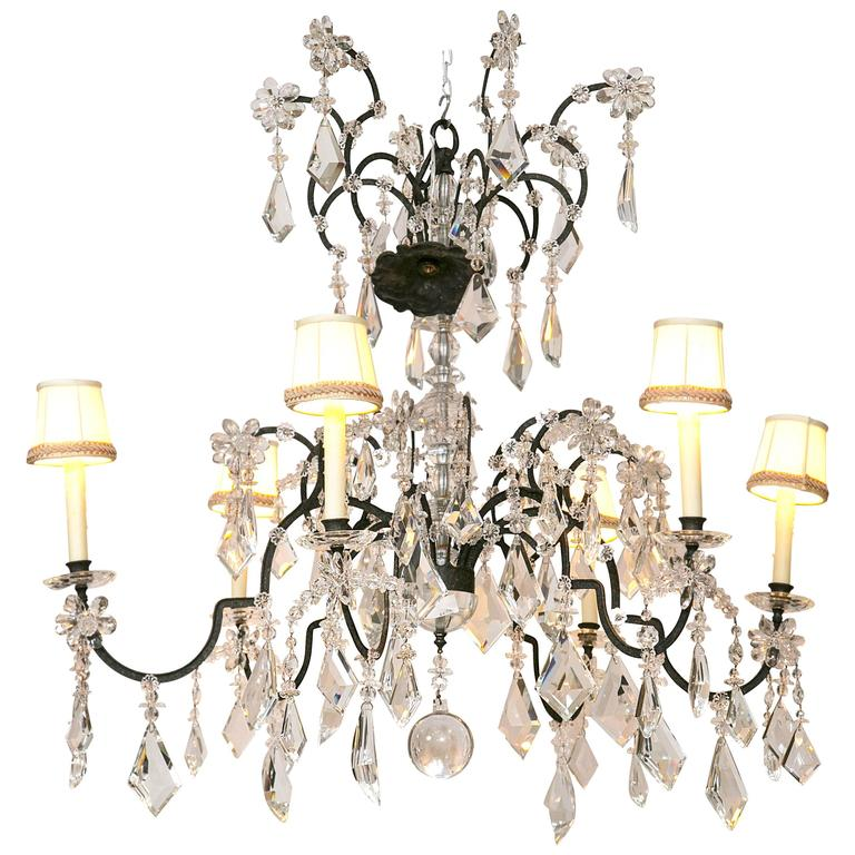 Tippett chandelier by holly hunt for sale at 1stdibs large holly hunt wrought iron and crystal scroll form chandelier custom shades aloadofball Choice Image