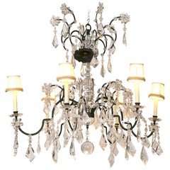 Large Holly Hunt Wrought Iron and Crystal Scroll Form Chandelier Custom Shades