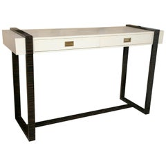 White Antique Faux Crocodile and Macassar Console Table by Jonathan Charles