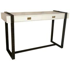 White Faux Crocodile and Macassar Console Table by Jonathan Charles