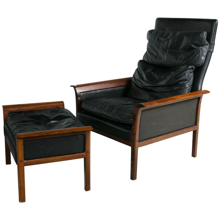 Otto Hans Olsen Rosewood Danish Lounge Chair U0026 Ottoman Dark Brown Leather  For Sale