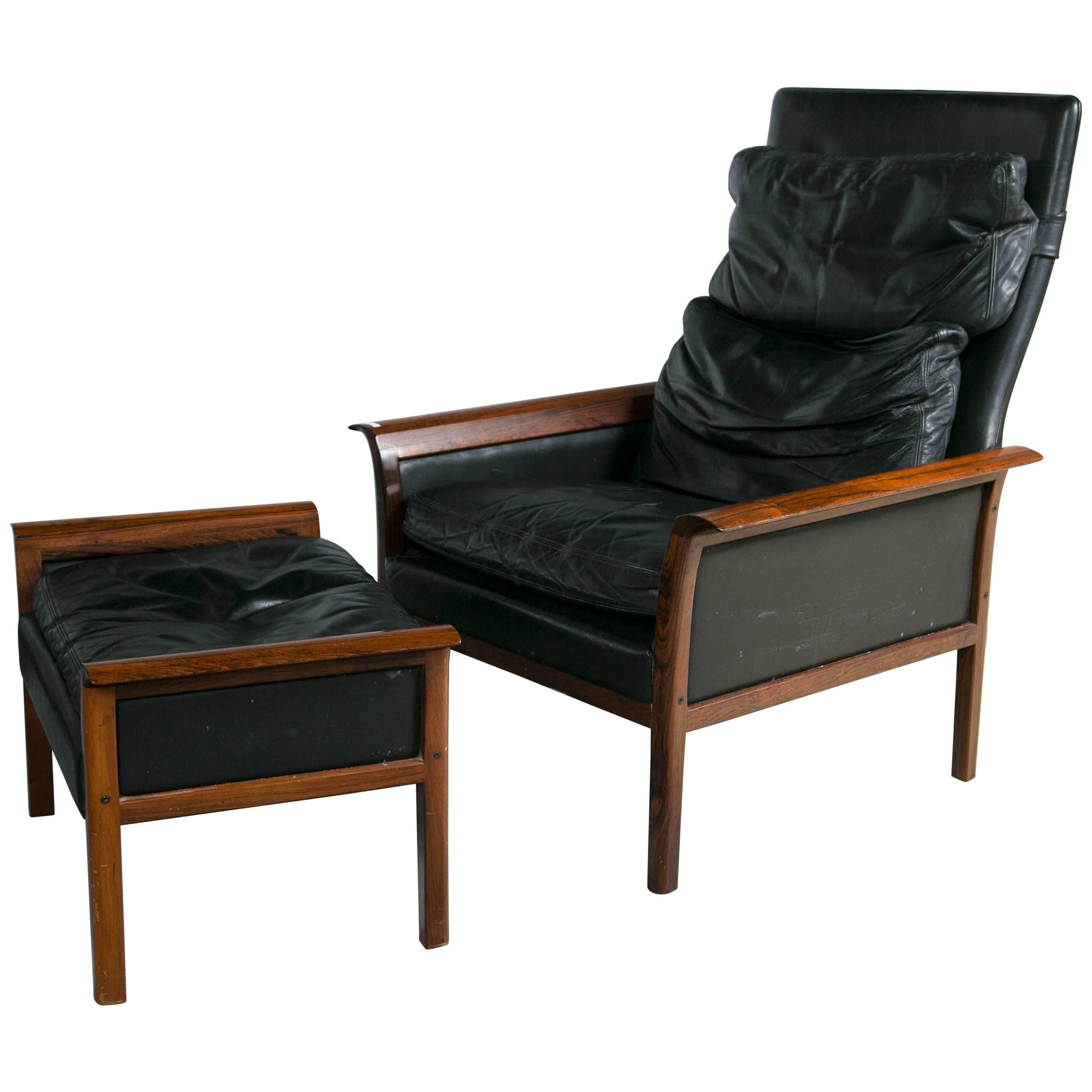Otto Hans Olsen Rosewood Danish Lounge Chair & Ottoman Black Leather