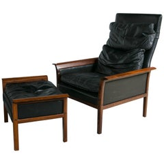 Otto Hans Olsen Rosewood Danish Lounge Chair & Ottoman Dark Brown Leather