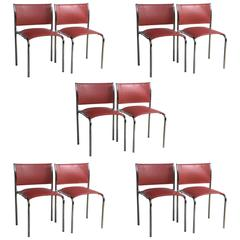 Set of Ten Thonet Chrome and Leather Side Chairs Style of Mies van der Rohe
